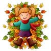 Coloring pages color example autumn foliage and girl