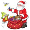 Coloring pages color example santa claus and bunny with birds
