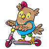 Coloring pages color example owl on a skateboard