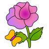 Coloring pages color example flower and butterfly