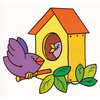 Coloring pages color example bird and chicks