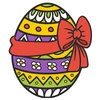 Coloring pages color example beautiful easter egg with bow and patterns
