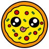 Coloring pages color example delicious pizza with eyes. kawaii