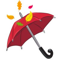 Раскраска осень зонт и листья для детей распечатать формат А4