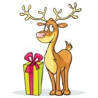 Раскраска олень санты с подарком для детей распечатать ...