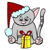 Раскраска новогодний кот с подарком для детей распечатать ...