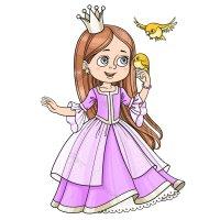 Раскраска принцесса с короной и в красивом платье для ...