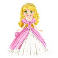 Раскраска принцесса в пышном платье для девочек распечатать