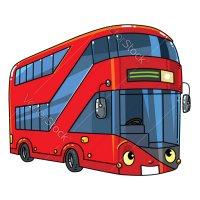 Распечатать раскраску двухэтажный автобус для детей бесплатно