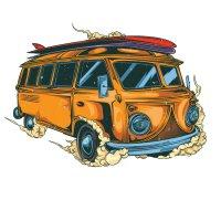 Распечатать раскраску ретро автобус для детей бесплатно