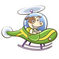 Раскраска вертолет с собачкой распечатать для детей