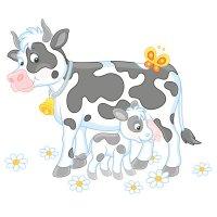 Раскраска мама корова с теленком для детей и малышей ...
