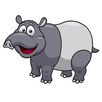Картинка-раскраска для детей 4-5 лет животное тапир ...
