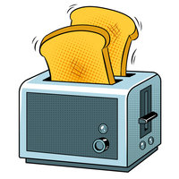 Картинка-раскраска для детей 4-5 лет хлеб и тостер распечатать