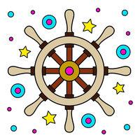 Картинка-раскраска для детей 4-5 лет штурвал корабля ...
