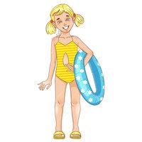 Раскраска лето девочка в купальнике с кругом для детей ...