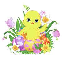 Раскраска пасха, милый утенок с пасхальными яйцами ...