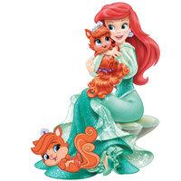 Раскраска принцесса ариэль с кошечками для девочек распечатать