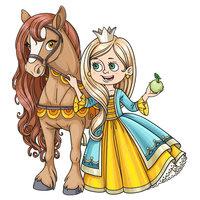 Раскраска принцесса в платье и с конем для девочек распечатать