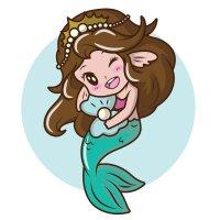 Раскраска русалка забавная принцесса для девочек распечатать
