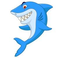 Раскраска улыбающаяся акула для детей распечатать