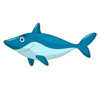 Раскраска большая добрая акула для детей распечатать