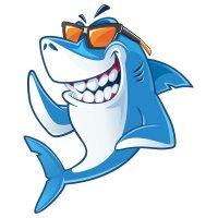 Раскраска акула в солнечных очках для детей распечатать
