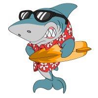 Раскраска акула серфингист для детей распечатать