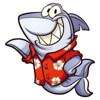 Раскраска акула в рубашке для детей распечатать