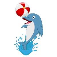Раскраска дельфин в воде с мячом распечатать