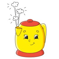 Картинка-раскраска для детей 3-4 года закипающий чайник с ...