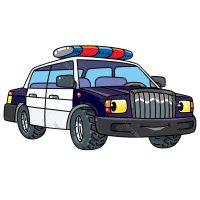 Раскраска машина полицейская с мигалками и глазками для ...