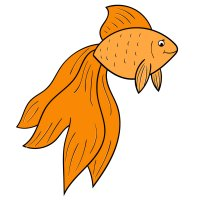 Раскраска рыба стройная золотая рыбка с длинным хвостом ...