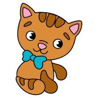 Картинка-раскраска для детей 3-4 года котенок с бантиком ...