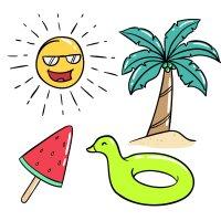 Раскраска лето солнце, мороженое, пальма, уточка для детей ...