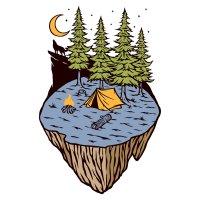 Раскраска лето волк воет на луну, каникулы в палатке для ...