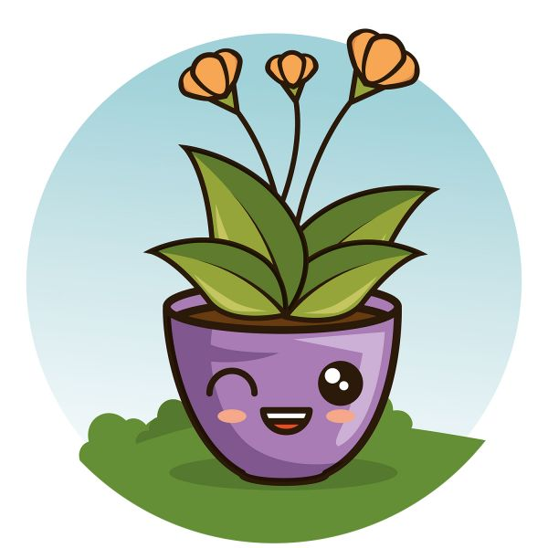 Раскраска цветок каваи в горшке с глазками для детей ...