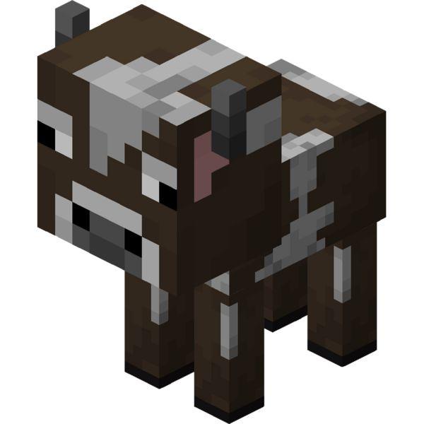 Раскраска майнкрафт животное теленок, маленькая корова ...