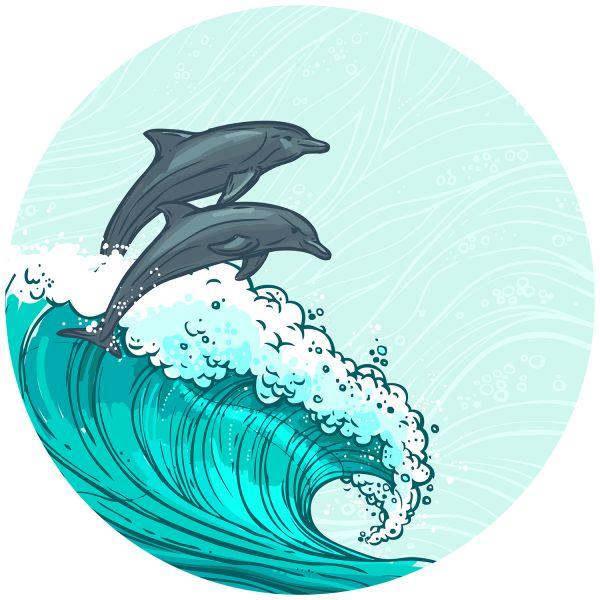 Раскраска лето дельфины в море для детей распечатать