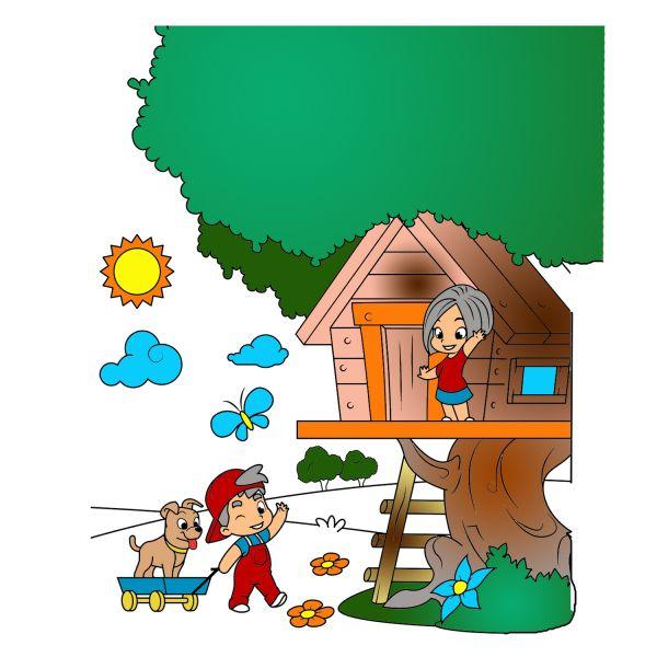 Раскраска лето домик на дереве. дети играют для детей ...