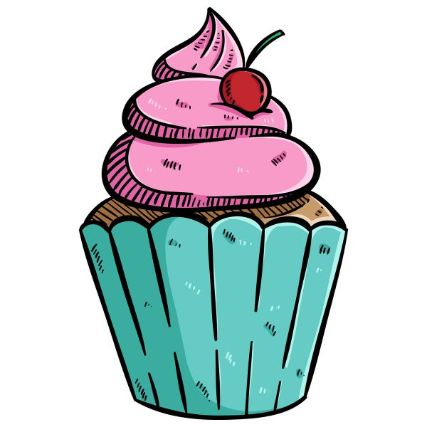 Раскраска еда пирожное, капкейк, десерт распечатать