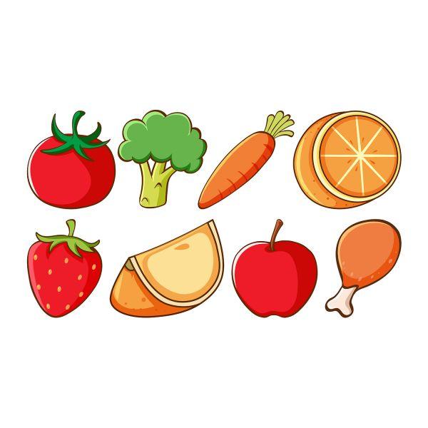 Раскраска еда разный набор овощи, фрукты распечатать