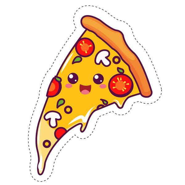 Раскраска еда пицца с грибами. кавай с глазками распечатать