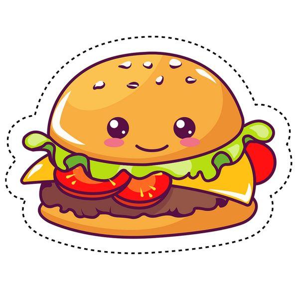 Раскраска еда гамбургер с котлетой. кавай с глазками ...