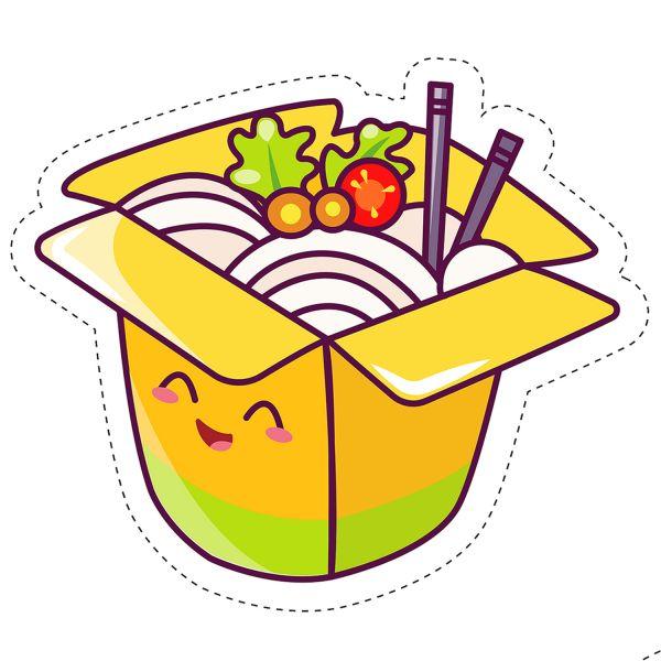Раскраска еда вок японская лапша. кавай с глазками распечатать