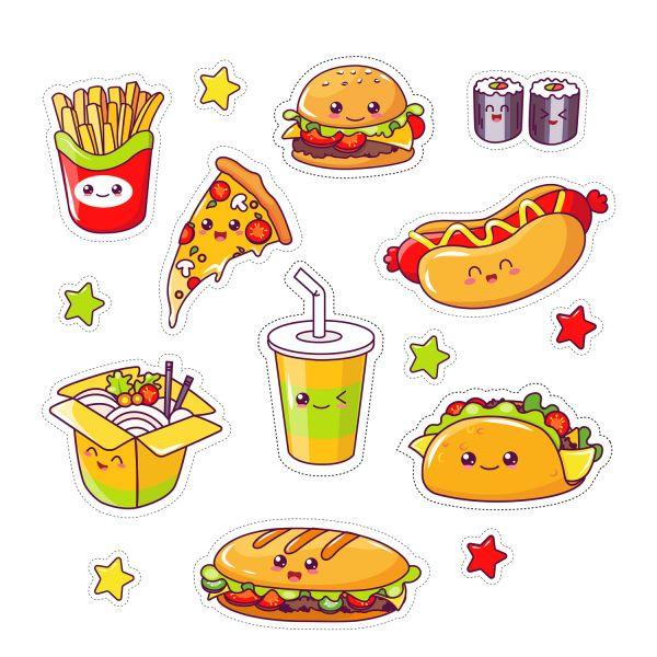 Раскраска еда много разных блюд. кавай с глазками распечатать