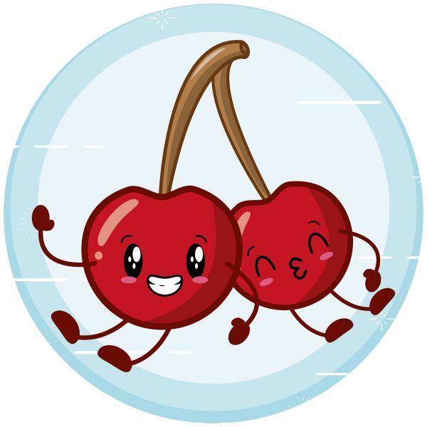 Раскраска еда вишня ягода, фрукт распечатать