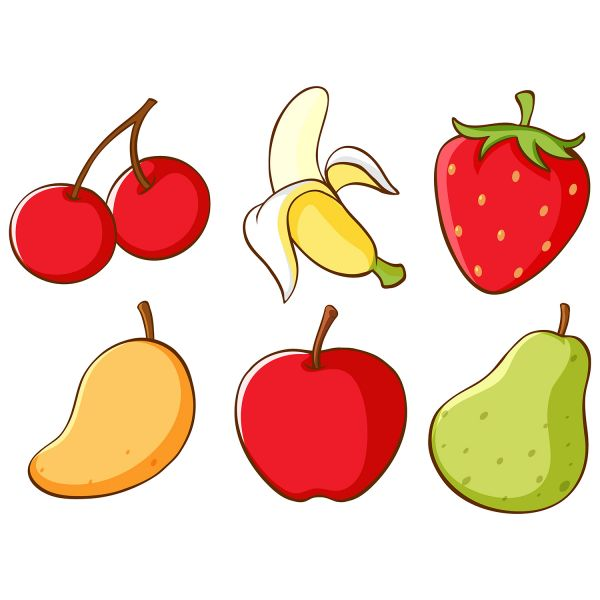 Раскраска еда фрукты, ягоды. банан, вишня, яблоко распечатать