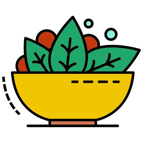 Раскраска еда салат с зеленью и овощами распечатать