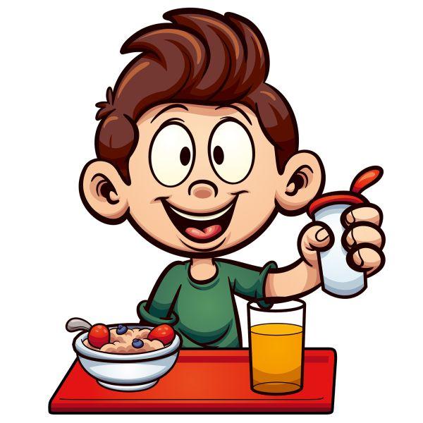 Раскраска еда мальчик ест кашу и пьет сок. школьный обед ...